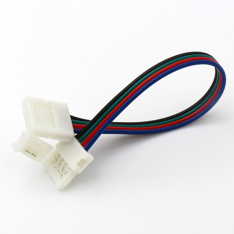 10mm 4 pin solderless lengthen connectors at 2 ends for 5050 RGB LED strip or 10mm wide 4 pin flexible PCB connector (1)
