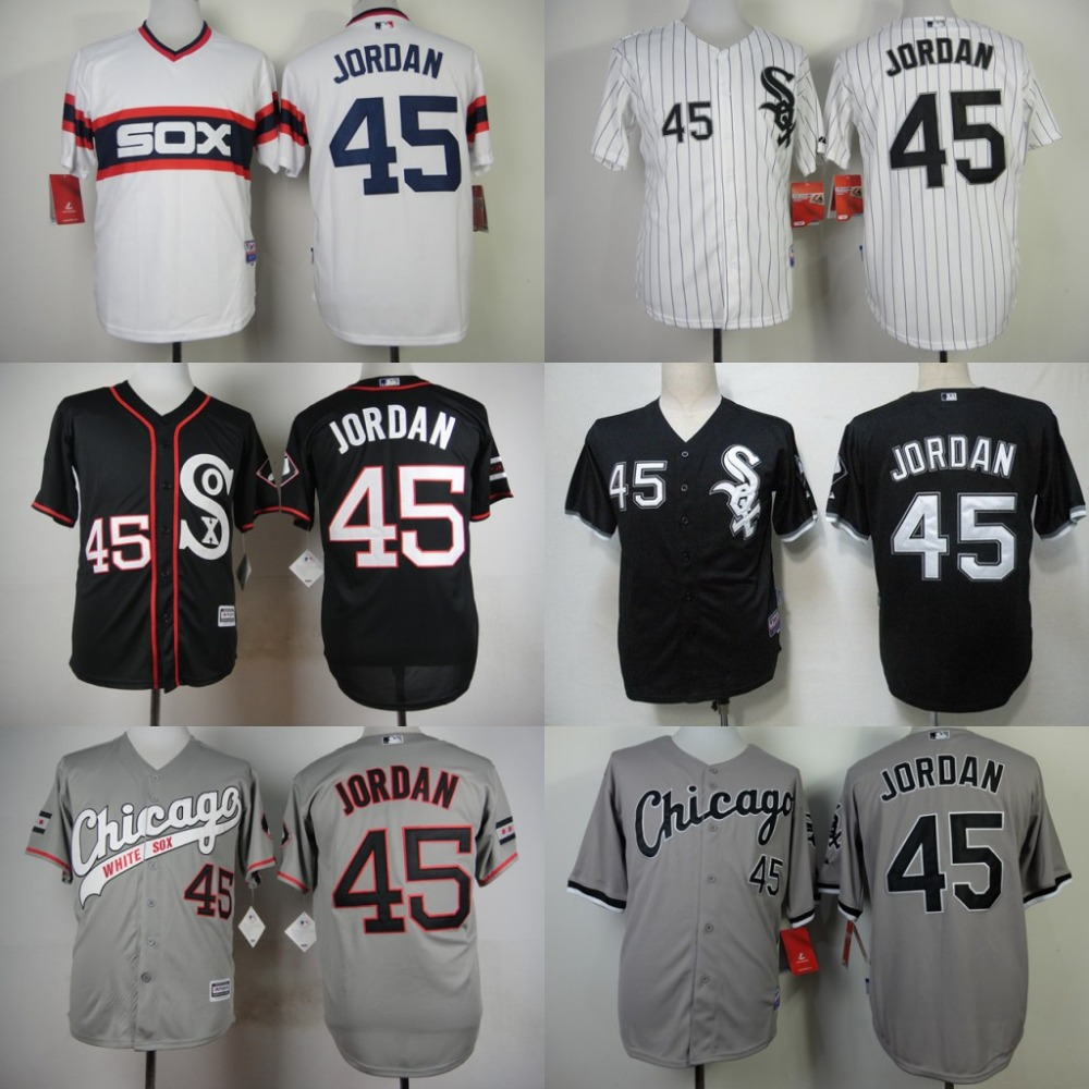 Mens #45 Michael Jordan Jersey Chicago White Sox White Grey Black Cool Base Stitched Authentic Baseball Jersey Embroidery Logo<br><br>Aliexpress