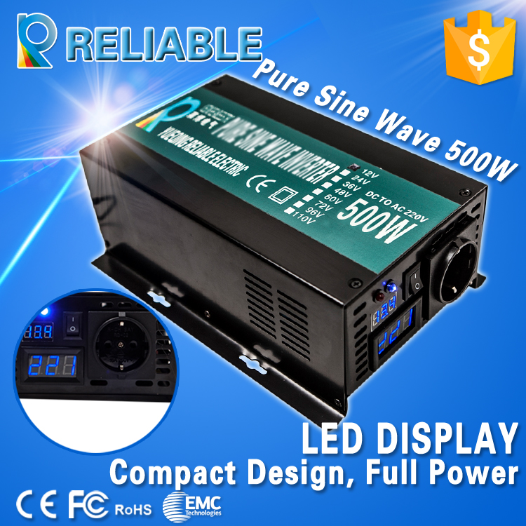 LED Display Off Grid Solar Inverter 500Watt/500W 12/24/48VDC to 110/220VAC 500W Rated Pure Sine Wave Power Inverter(China (Mainland))