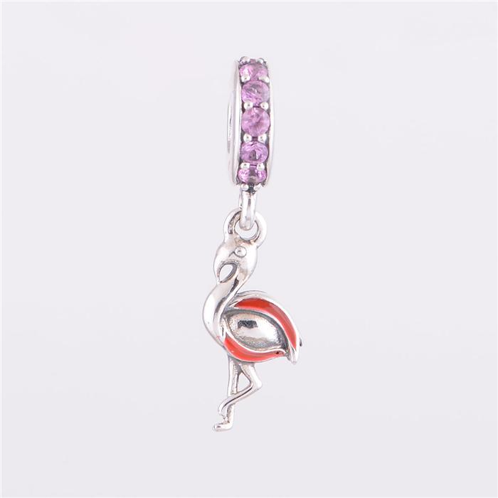 925 sterling silver charms orange flamingo pendant bead