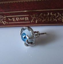 Street silver 925 pure silver male personality stud earring blue eye red stud earring(China (Mainland))