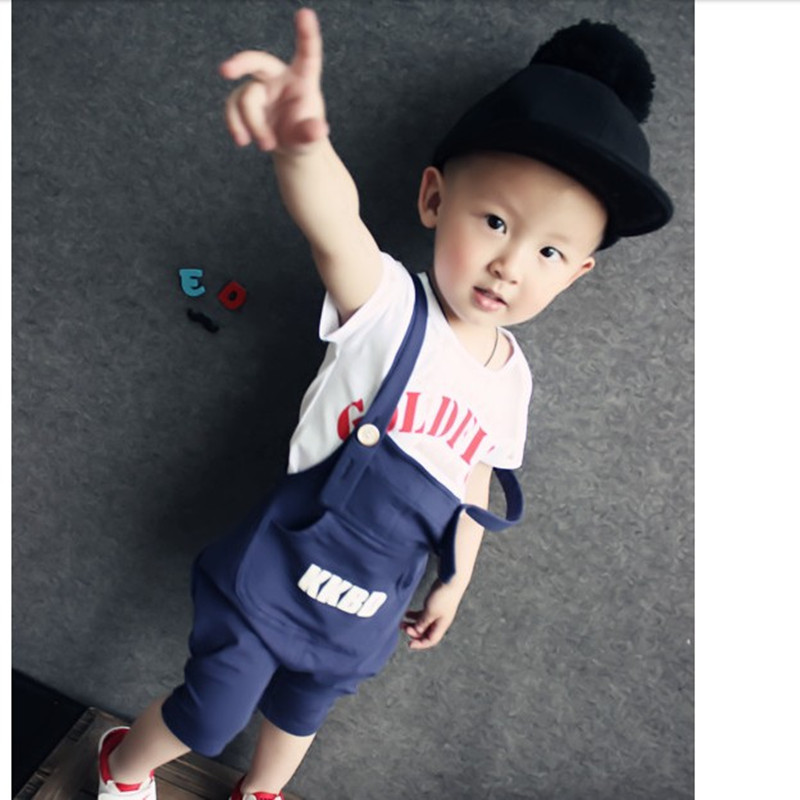 Fashion Letter Babys Set 2015 Cotton Boy Suits Shirt Bib Pants Thin Short Sleeve Summer Clothes Korean Baby's - Buyworld Store store