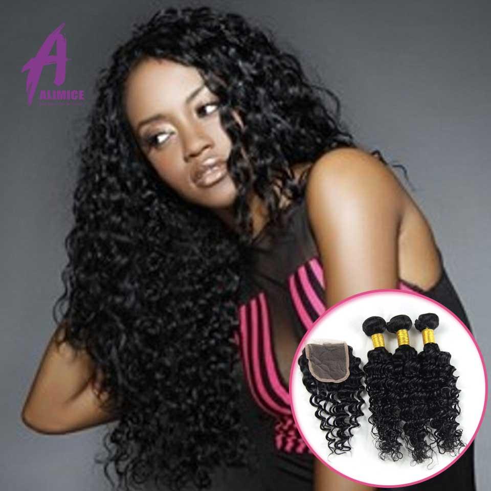 Top 6A Brazilian Deep Wave With Closure 3pcs Queen Hair Weave Brazilian Virgin Hair Deep Curly Hair Bundles With Lace Closure<br><br>Aliexpress