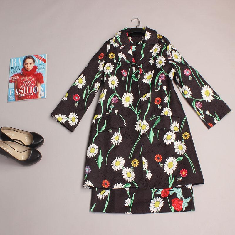 Two Piece Dress New 2016 Spring Fashion Women Black Turn-down Collar Print Chrysanthemum Jacket Top+ Vest Dress TwinsetОдежда и ак�е��уары<br><br><br>Aliexpress
