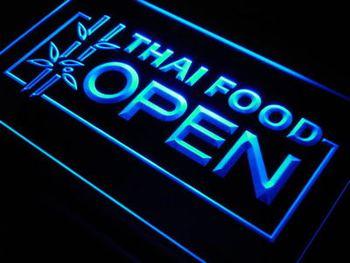 j705-b Thai Food OPEN Cafe Restaurant LED Neon Light Sign Wholesale Dropshipping
