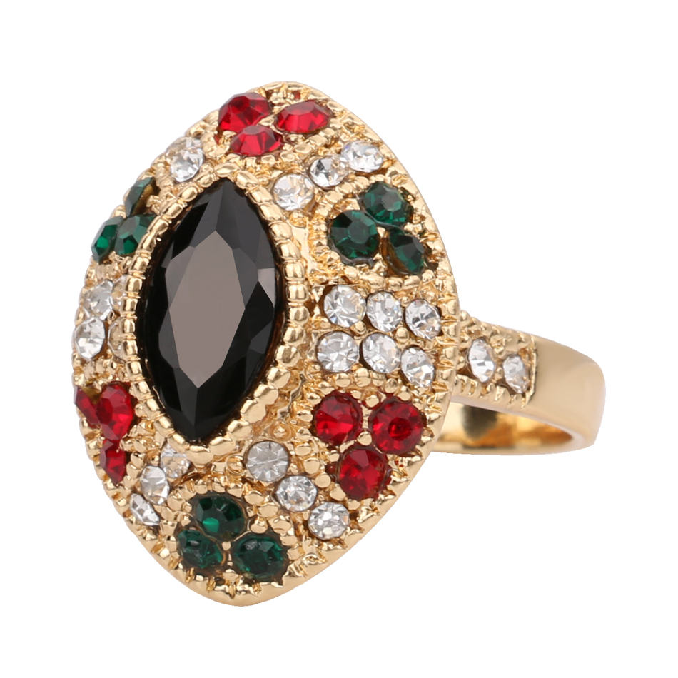 2016 Cheap Unique Female Vintage Black Rings Plating 18K Gold Engagement Wedd