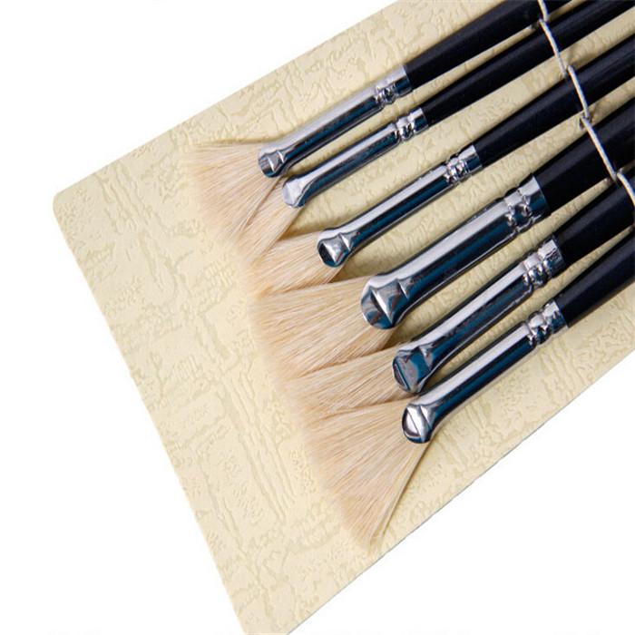 6pcs/set Watercolor Brush Pen Sector Bristle Gouache Painting Brush Oil Acrylic Drawing Pen for Art School Supplies(China (Mainland))
