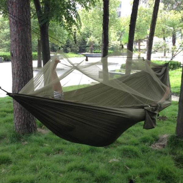 Free shipping Portable High Strength Parachute Fabric Camping Hammock Hanging Bed With Mosquito Net Sleeping Hammock(China (Mainland))