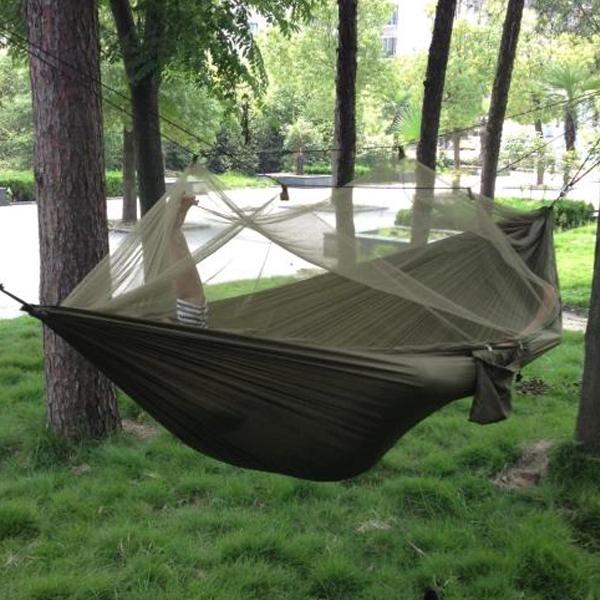 Free shipping Portable High Strength Parachute Fabric Camping Hammock Hanging Bed With Mosquito Net Sleeping Hammock(China (Mainland))