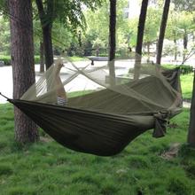 Spedizione gratuita portatile ad alta resistenza dei paracadute tessuto campeggio amaca hanging letto con zanzariera sleeping hammock(China (Mainland))