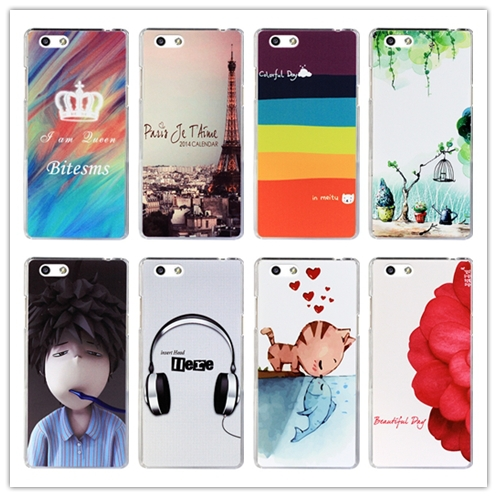 15 pattern Flower rose cat painting colored cover case OPPO R1S R8007 case cover / OPPO R1S phone case(China (Mainland))