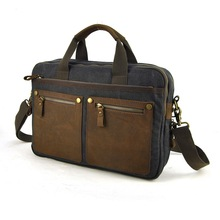 Men Canvas Vintage Genuine Saddle Leather Briefcase Laptop Bag Messenger Shoulder Cross Body Multi Compartment Work Business(China (Mainland))