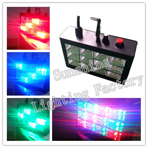New RGB Mini 12W LED Strobe Lights Operated DJ Disco Party Club Stage Lighting Effects(China (Mainland))