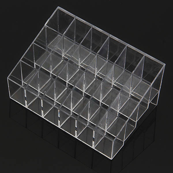 Free Shipping 24 Trapezoid Clear Makeup Display Lipstick Stand Case Cosmetic Organizer Holder Hot sale(China (Mainland))