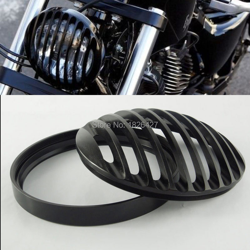 "Free Shipping Brand New 5 3/4"" Black Aluminum Headlight Grill Cover for Harley Sportster XL883 1200 2004-2014 Black(China (Mainland))"