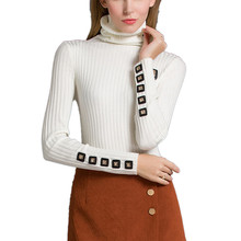 Fashion Brand 2016 Women Turtleneck Sweater Pullover Winter Slim Fit Warm Pullovers Button Knitted Sweaters Jumpers Pull Femme