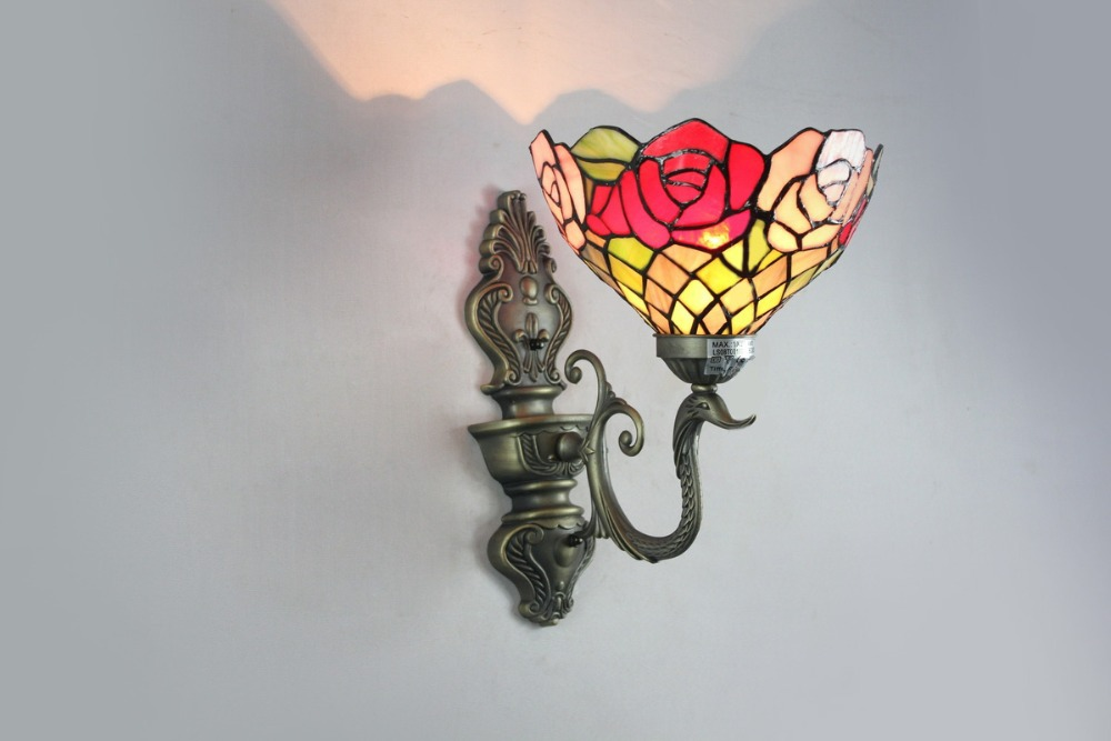 EMS Free Ship Wall Lamps Tiffany Style No.8S1503 Antique Wall Sconces Stained Glass ...