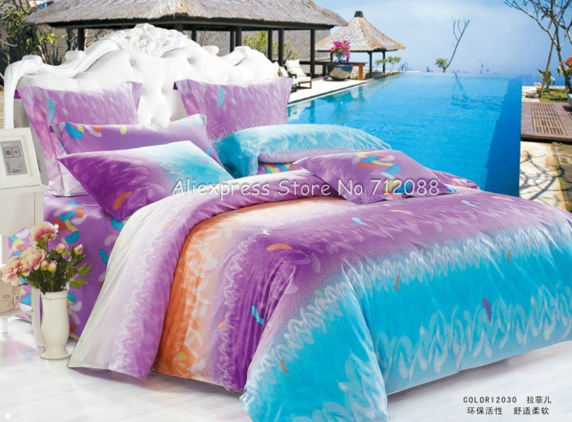 Cotton bed sheets 4 pcs queen bed sets feather modern - Orange and purple bedding ...