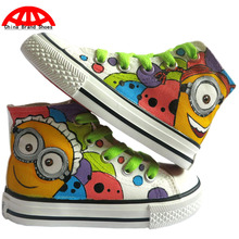 Despicable Me Cartoon Minion Children Unisex Hand Painted Casual Shoes Boys Girls Anime Figure Spongebob Graffiti Flat Shoes