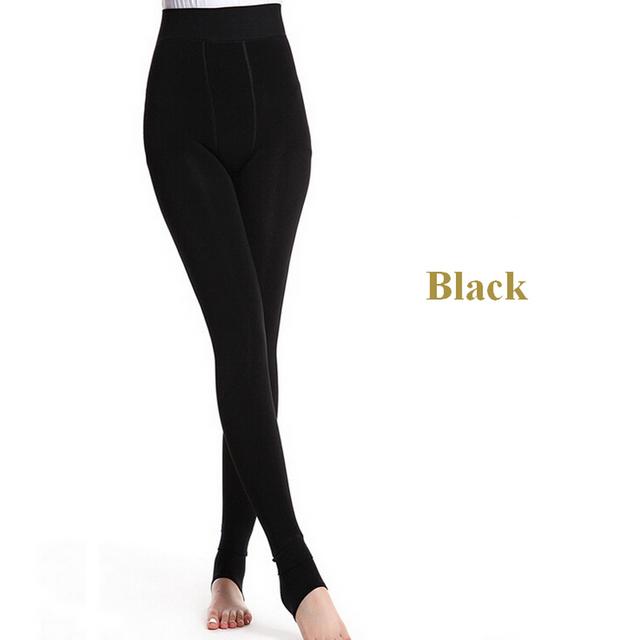 Женщины зима высокой талии эластичные тонкие теплые черные леггинсы t01