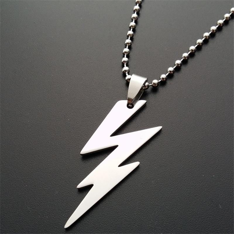 ER 2016 New Arrival Power Thunder Lightning Bolt Pendant Necklace Mens Biker Stainless Steel Jewelry Creative Gift PN011(China (Mainland))