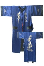 Navy Blue Black Reversible Chinese Men's Satin Silk Two-face Robe Embroidery Kimono Bath Gown Dragon One Size S3006(China (Mainland))