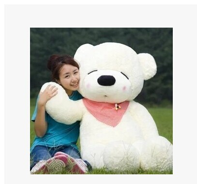 Stuffed animal huge 160cm white Teddy bear plush toy squint eyes bear doll gift w1650(China (Mainland))