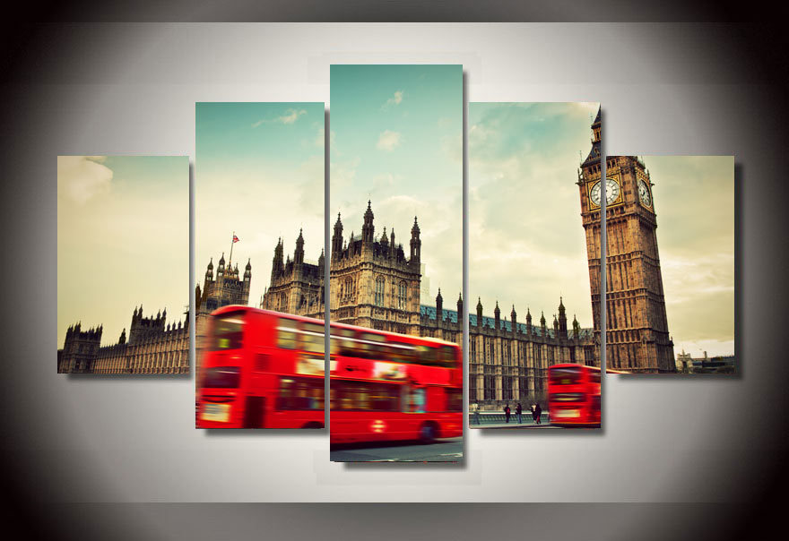 2015 hot sale red bus street picture painting wall art for Room decoration items sale