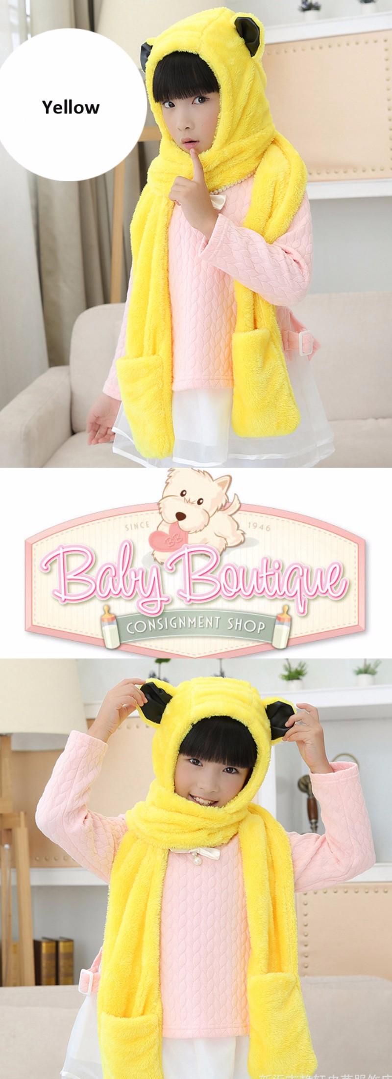 HT553 Panda Bear Shaped Winter Kids Hoodie Gloves Pocket Earflap Hat Long Scarf Shawl Snood Wraps Set Child Ski Cap Earflap Hat