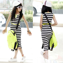 White Black Striped Girls Maxi Dress With Belt 2016 Summer Style Cotton Dress for Girls Beach Slit Dress Teenage Girls Vestidos