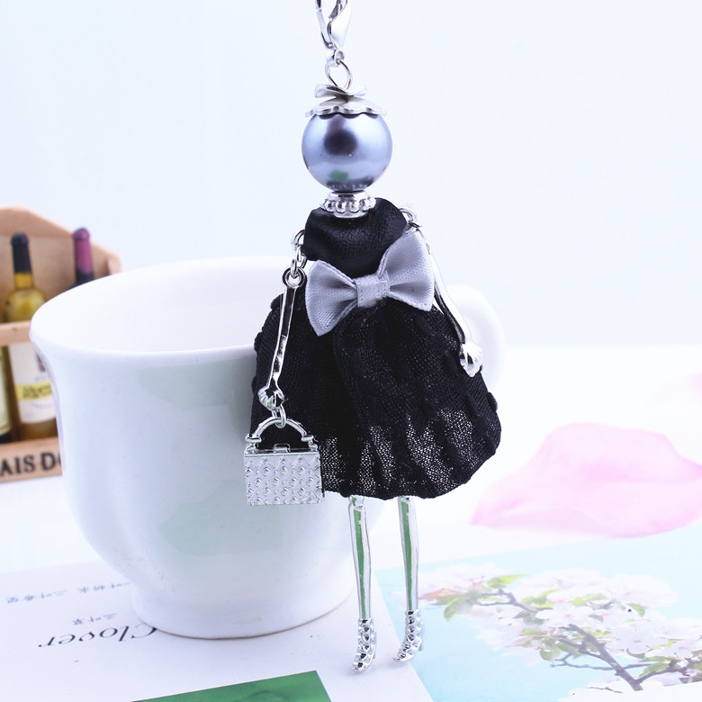 2016 Hot Sale Cute Cloth Bowknot Dress handbag Black Doll Necklace Girl Chain Long Necklace Women