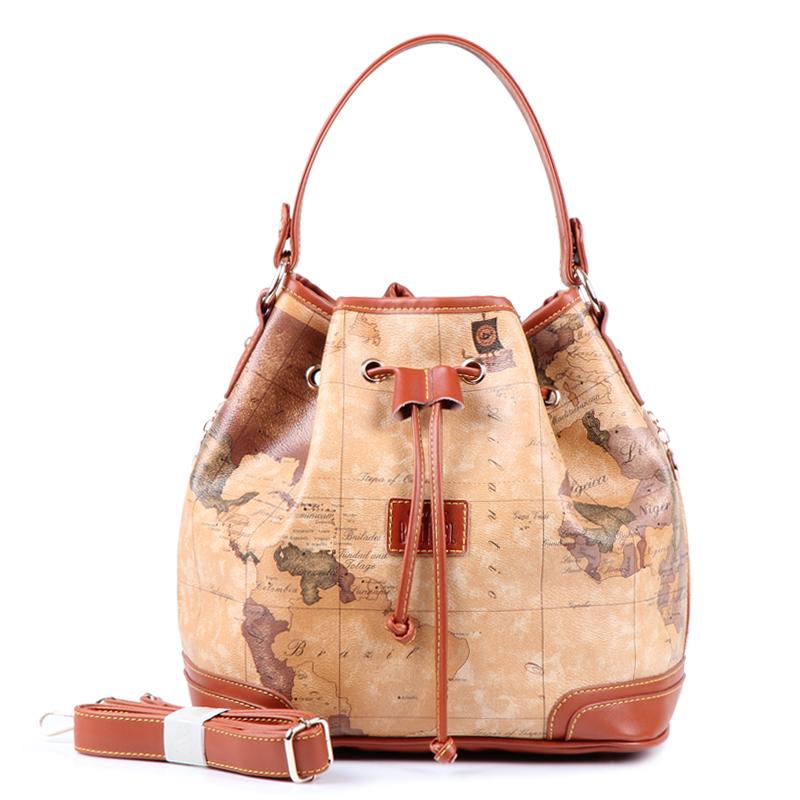2015 High quality all-match vintage map pack handbag messenger bag bucket bag women's handbag free shipping #170(China (Mainland))