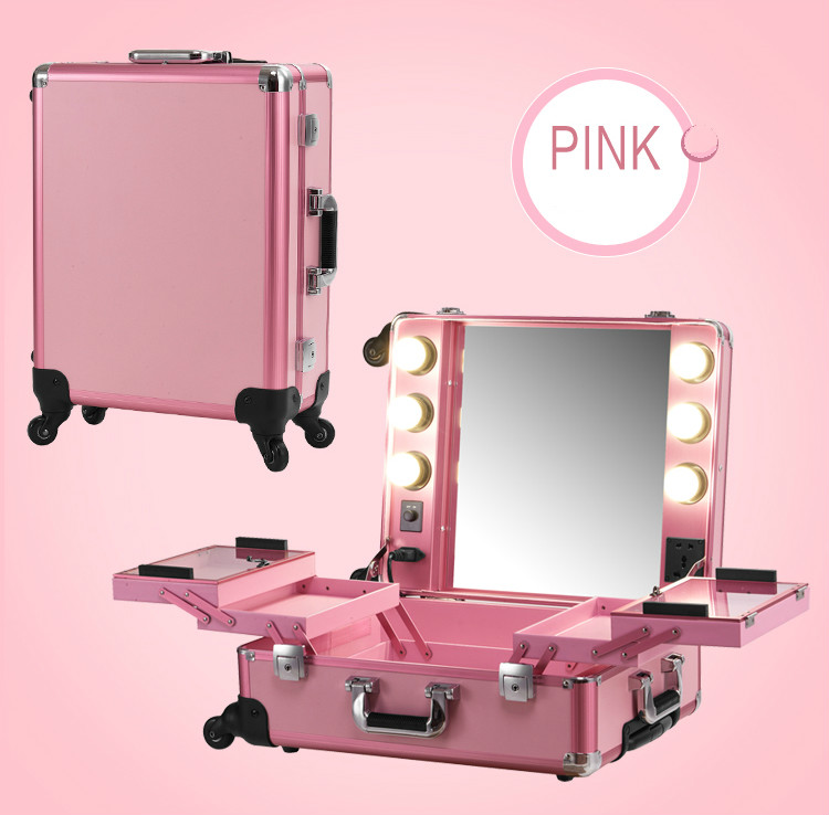 Pink Aluminum frame with PVC Makeup Artist Train Case with Lights Pro Station Portable Studio Wheeled Box 2016 New Y/W lights(China (Mainland))