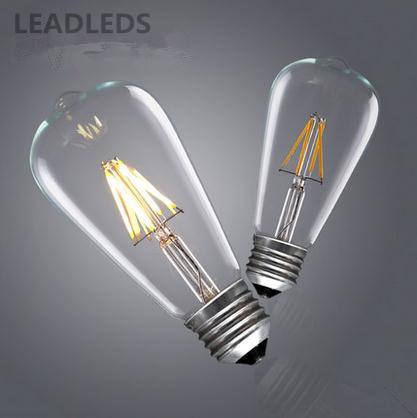 2W / 4W / 6W /8W E27 110v - 220v Vintage Retro Edison Filament Warm White LED Light Bulb for Restaurant, Home Living Room etc(China (Mainland))