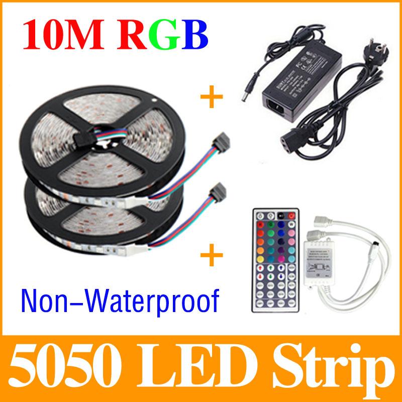 10m 5050 rgb led strip light 2 5m 30leds m smd flexible bar light 44 key ir remote controller dc. Black Bedroom Furniture Sets. Home Design Ideas