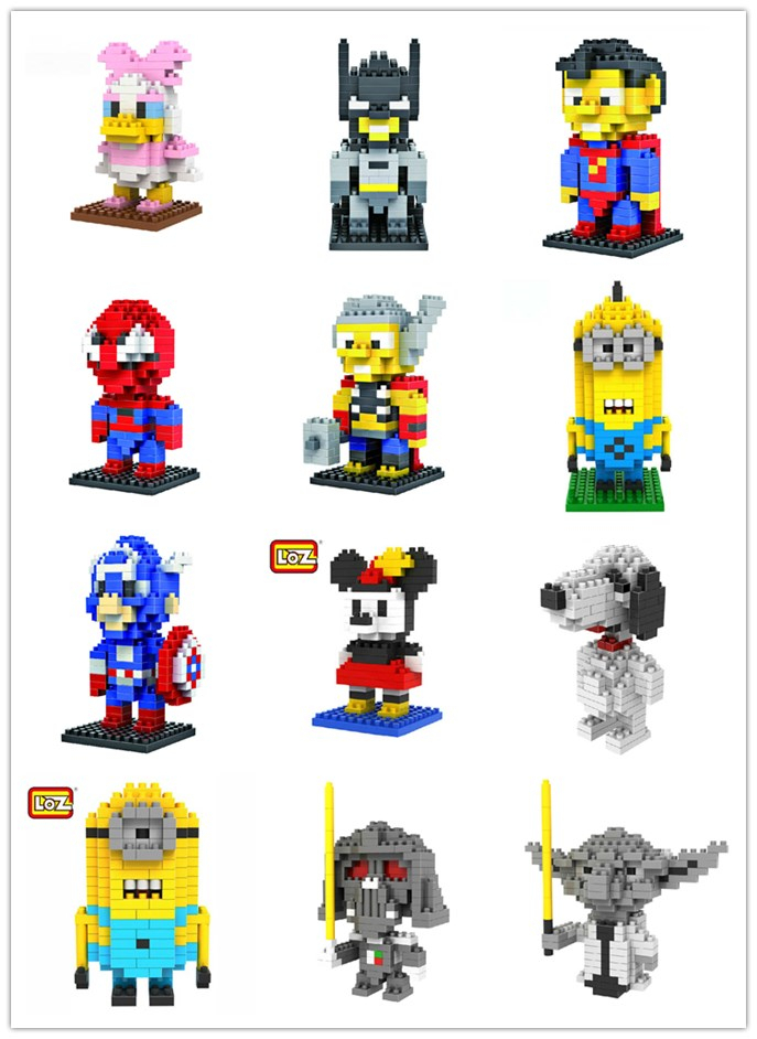 Original Gift Box ! LOZ Blocks Diamond Building Action Figure Super heroes Minions 3D Bricks Toys learning Education toys - Adult store supplies
