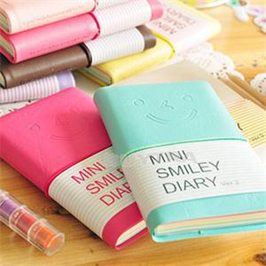 6 Colours Mini Smiley Diary Notebook Memo Book leather Note Pads Stationery Pocketbook 100 Pages(China (Mainland))