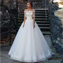 vestido de casamento wedding gowns 2016 fashion sexy off the shoulder romantic half sleeve none train white lace wedding dresses(China (Mainland))