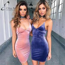 Buy New 2017 Strap V Neck Casual Summer Velvet Short Dress Evening Women Sexy Dresses Backless Mini Party Bodycon Vestidos C050 for $12.99 in AliExpress store