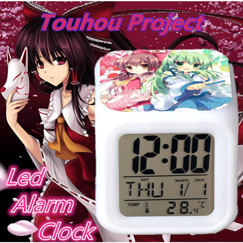 New Fashion Cube Plastic Electronic Desk Clock Temperature Display Touhou Project Cartoon Led Clock Clock Led(China (Mainland))