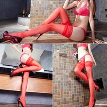 New Style Fashion Temptative Women Sexy Sheer Lace Grid Pantyhose Polyester Spandex Long Sock Transperant Red