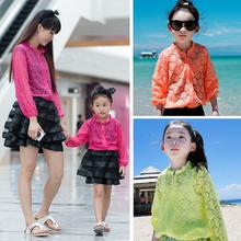 Family Clothes Fashion Girls and Lady's Lace Blouses Candy Colors Long Sleeve Shirts Air condition/ Sun protection coats NK32