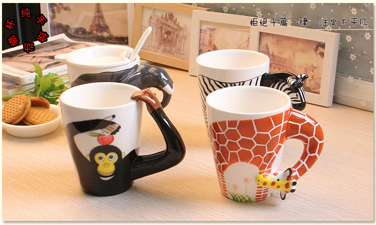 2016 Cute Coffee Cup or Mug Free Shipping Creative Animal Prints 3D Traditional Chinese Style with a Lid and a Spoon Hot Sale(China (Mainland))