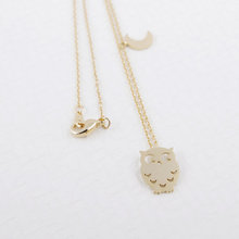 30Pcs/lot 2016 Fashion Wholesale Cute Vintage Night Owl and Moon Necklace Silver Plated Bird Party Animal Jewelry for Women(China (Mainland))