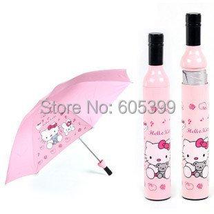 New 3pcs/lot wine bottle Umbrella Fashion Umbrella Folding Umbrella with Hello Kitty Design(China (Mainland))