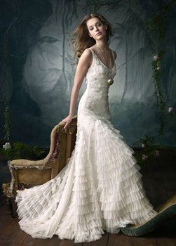 LA3060 Free shipping best price Ivory embroidered ruffle net bridal gown