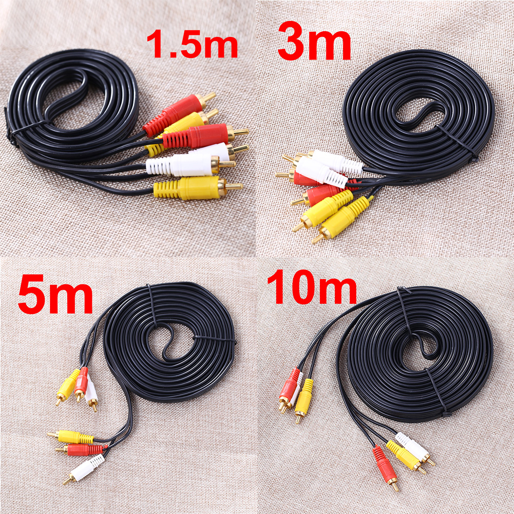 1.5M 3M 5M 10M 3 RCA Male to 3 RCA Male Composite Audio Video AV Cable Plug for DVD TV Yellow/Red/White FW1S(China (Mainland))