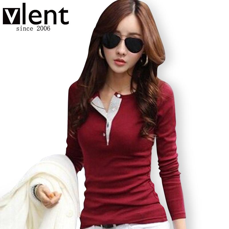 6colors 2015 New Autumn Winter Women Clothing Fashion Slim Long sleeve Cotton V-neck T-shirts Top Tee blusas femininas RD097(China (Mainland))