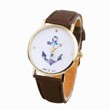 Hot Marketing 2015 Women's Ladies Vintage Flower Watch Anchor Leather Quartz Watch Jun7 Hcandice