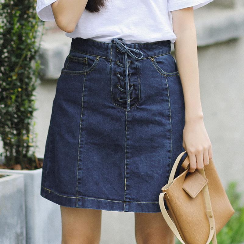 Airport / sweet feeling cowboy bag hip skirt temperament all-match thin summer new skirt(China (Mainland))